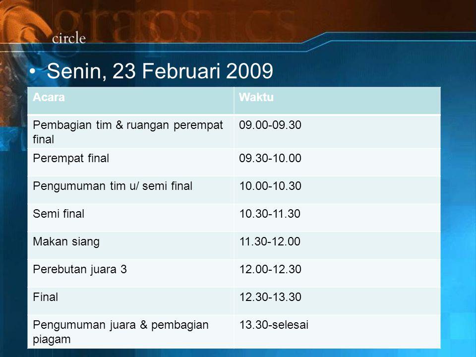 Senin, 23 Februari 2009 AcaraWaktu Pembagian tim & ruangan perempat final 09.00-09.30 Perempat final09.30-10.00 Pengumuman tim u/ semi final10.00-10.30 Semi final10.30-11.30 Makan siang11.30-12.00 Perebutan juara 312.00-12.30 Final12.30-13.30 Pengumuman juara & pembagian piagam 13.30-selesai