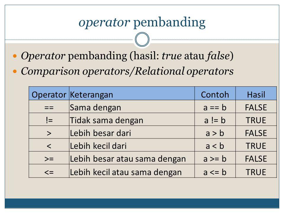operator pembanding Operator pembanding (hasil: true atau false) Comparison operators/Relational operators OperatorKeteranganContohHasil ==Sama dengana == bFALSE !=Tidak sama dengana != bTRUE >Lebih besar daria > bFALSE <Lebih kecil daria < bTRUE >=Lebih besar atau sama dengana >= bFALSE <=Lebih kecil atau sama dengana <= bTRUE