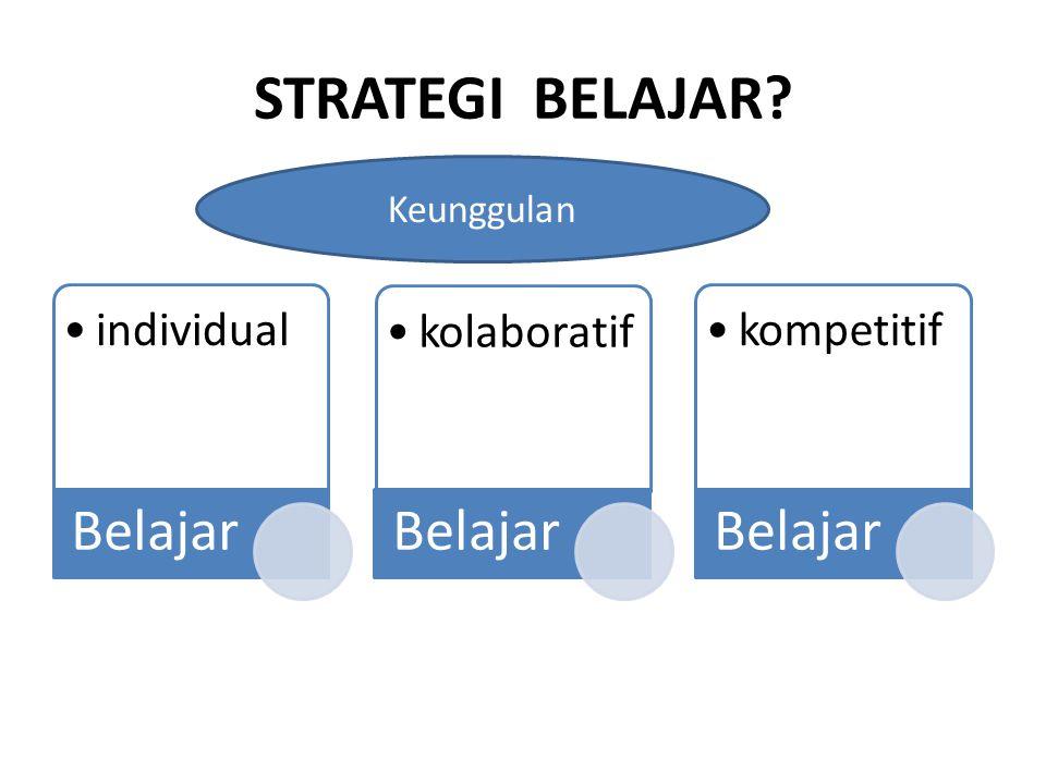 STRATEGI BELAJAR? individual Belajar kolaboratif Belajar kompetitif Belajar Keunggulan