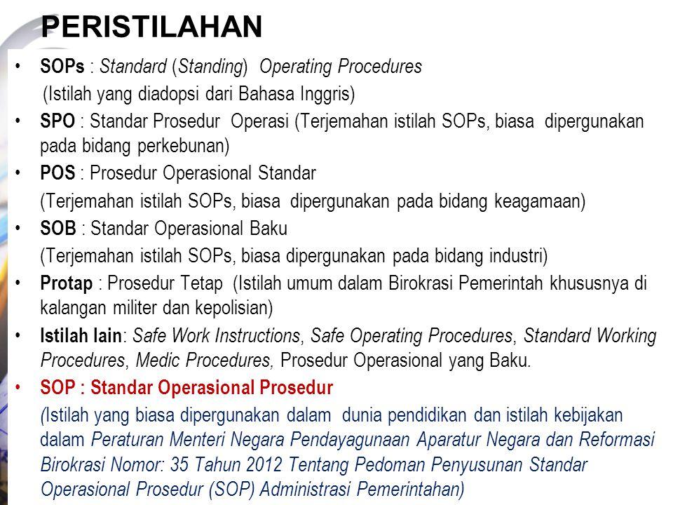 PERISTILAHAN SOPs : Standard ( Standing ) Operating Procedures (Istilah yang diadopsi dari Bahasa Inggris) SPO : Standar Prosedur Operasi (Terjemahan