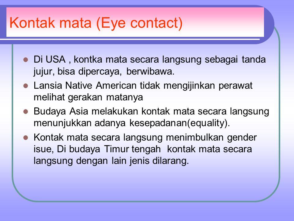 Kontak mata (Eye contact) Di USA, kontka mata secara langsung sebagai tanda jujur, bisa dipercaya, berwibawa.