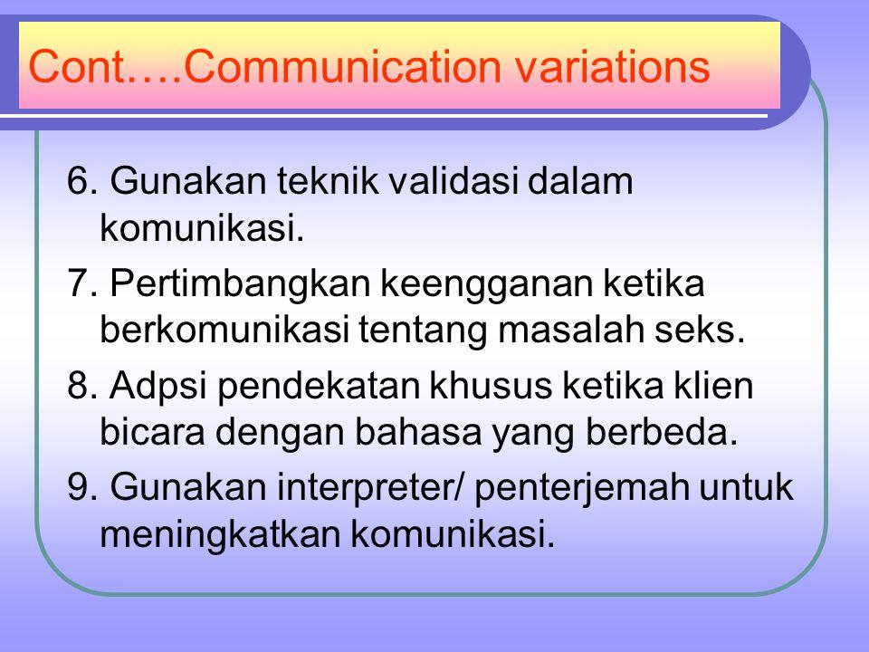 Cont….Communication variations 6.Gunakan teknik validasi dalam komunikasi.