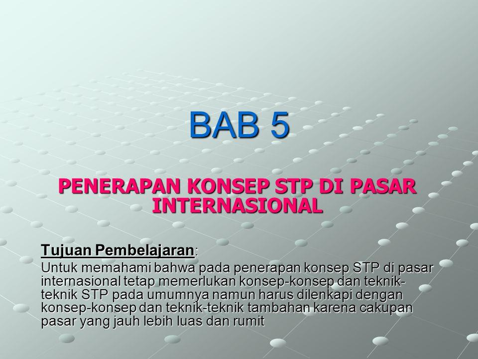 BAB 5 PENERAPAN KONSEP STP DI PASAR INTERNASIONAL Tujuan Pembelajaran : Untuk memahami bahwa pada penerapan konsep STP di pasar internasional tetap me