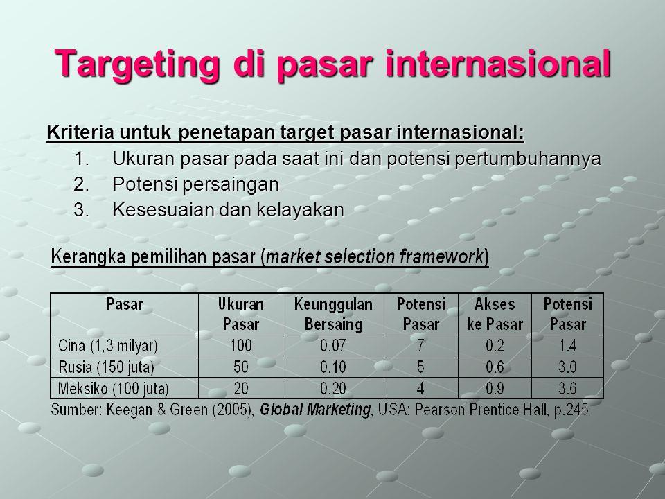 Targeting di pasar internasional Kriteria untuk penetapan target pasar internasional: Kriteria untuk penetapan target pasar internasional: 1.Ukuran pa