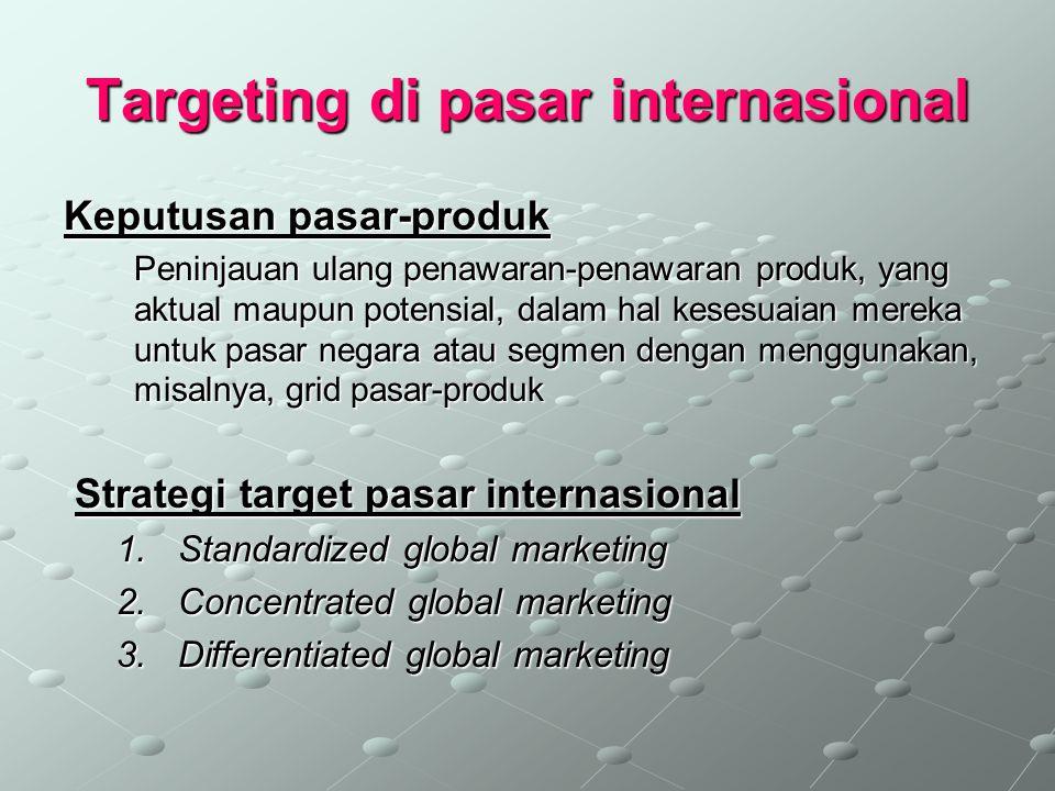 Targeting di pasar internasional Keputusan pasar-produk Peninjauan ulang penawaran-penawaran produk, yang aktual maupun potensial, dalam hal kesesuaia