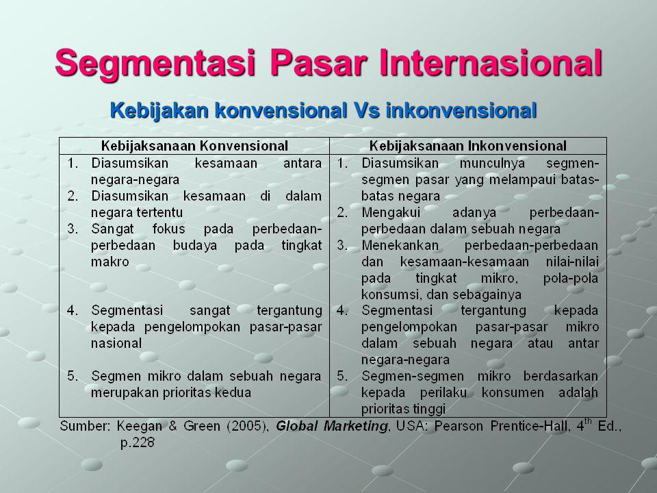 Segmentasi Pasar Internasional Pendekatan-pendekatan 1.Pendekatan agregat atau country-as-segments 2.Pendekatan disagregat 3.Pendekatan dua langkah yaitu pertama agregat lalu dilanjutkan dengan disagregat.