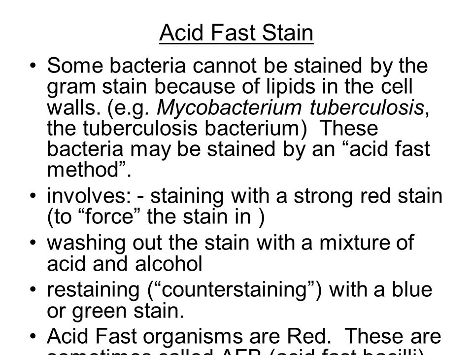 Acid Fast Stain Some bacteria cannot be stained by the gram stain because of lipids in the cell walls.
