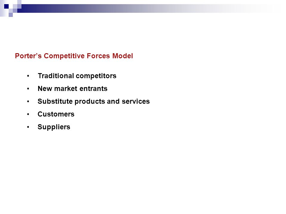 Traditional competitors New market entrants Substitute products and services Customers Suppliers Porter's Competitive Forces Model