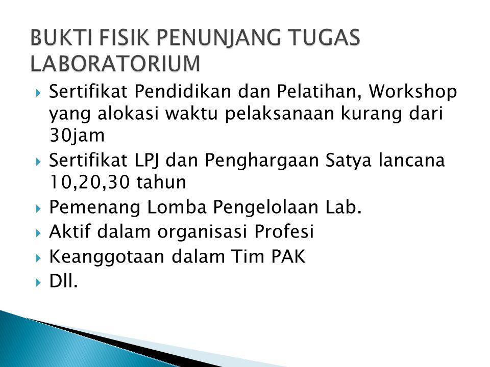  Sertifikat Pendidikan dan Pelatihan, Workshop yang alokasi waktu pelaksanaan kurang dari 30jam  Sertifikat LPJ dan Penghargaan Satya lancana 10,20,