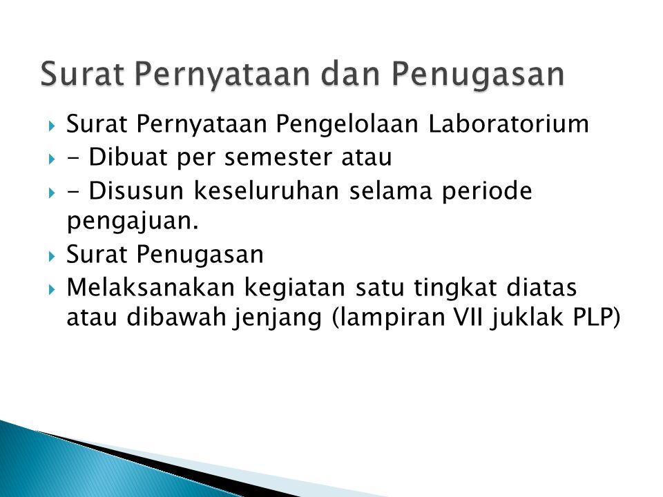 Surat Pernyataan Pengelolaan Laboratorium  - Dibuat per semester atau  - Disusun keseluruhan selama periode pengajuan.  Surat Penugasan  Melaksa