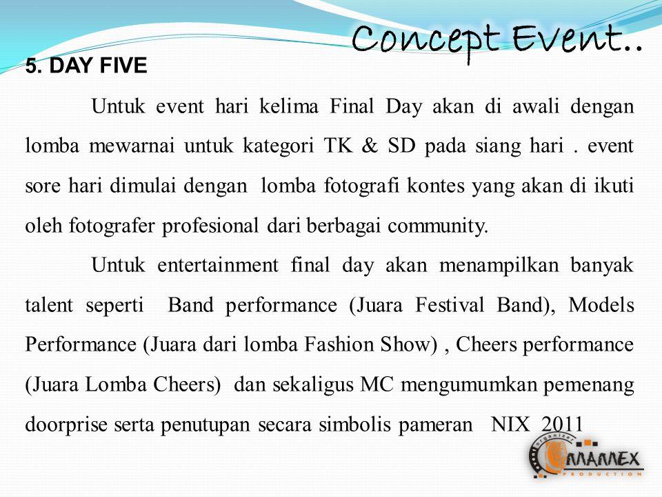 5. DAY FIVE Untuk event hari kelima Final Day akan di awali dengan lomba mewarnai untuk kategori TK & SD pada siang hari. event sore hari dimulai deng