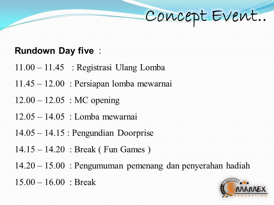 Rundown Day five : 11.00 – 11.45 : Registrasi Ulang Lomba 11.45 – 12.00 : Persiapan lomba mewarnai 12.00 – 12.05: MC opening 12.05 – 14.05: Lomba mewarnai 14.05 – 14.15 : Pengundian Doorprise 14.15 – 14.20: Break ( Fun Games ) 14.20 – 15.00 : Pengumuman pemenang dan penyerahan hadiah 15.00 – 16.00 : Break