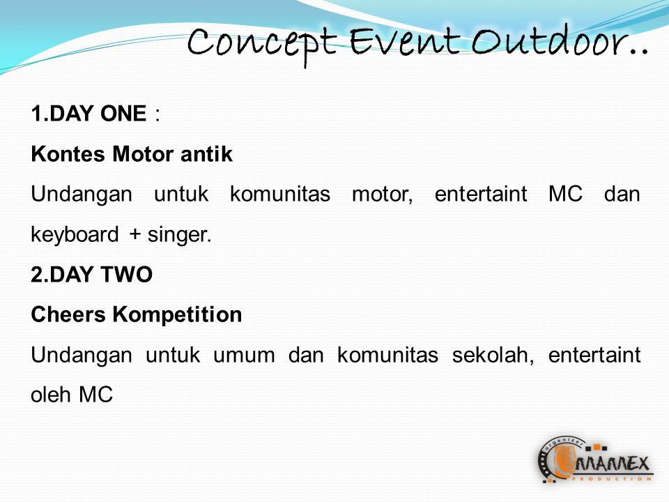 1.DAY ONE : Kontes Motor antik Undangan untuk komunitas motor, entertaint MC dan keyboard + singer. 2.DAY TWO Cheers Kompetition Undangan untuk umum d
