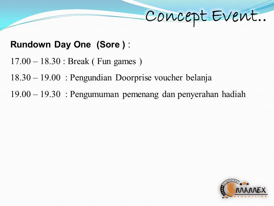 Rundown Day One (Sore ) : 17.00 – 18.30 : Break ( Fun games ) 18.30 – 19.00: Pengundian Doorprise voucher belanja 19.00 – 19.30 : Pengumuman pemenang dan penyerahan hadiah