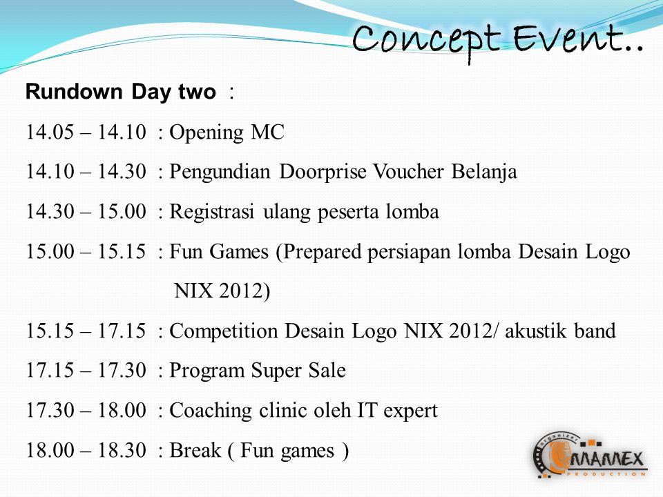 Rundown Day two : 14.05 – 14.10: Opening MC 14.10 – 14.30 : Pengundian Doorprise Voucher Belanja 14.30 – 15.00: Registrasi ulang peserta lomba 15.00 – 15.15: Fun Games (Prepared persiapan lomba Desain Logo NIX 2012) 15.15 – 17.15: Competition Desain Logo NIX 2012/ akustik band 17.15 – 17.30: Program Super Sale 17.30 – 18.00 : Coaching clinic oleh IT expert 18.00 – 18.30: Break ( Fun games )