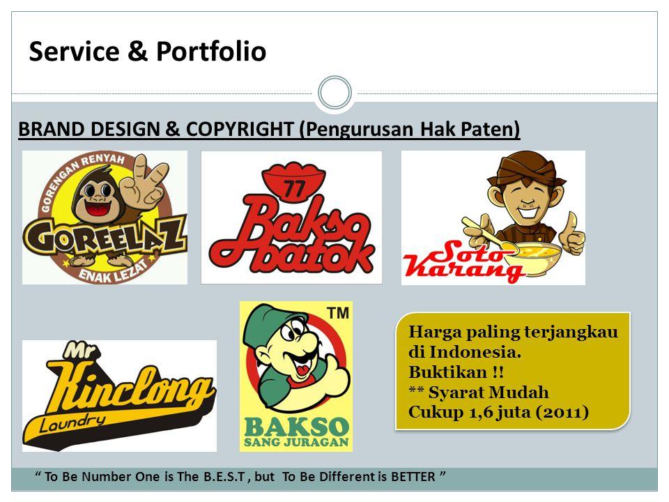 Service & Portfolio BRAND DESIGN & COPYRIGHT (Pengurusan Hak Paten) Harga paling terjangkau di Indonesia. Buktikan !! ** Syarat Mudah Cukup 1,6 juta (