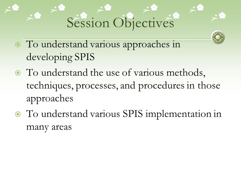 Session Agenda  The meaning of: Approach, Methodology, Method, and Technique in SPIS  Critiques to SPIS Methodologies  Various SPIS Methodologies  The Use of Methods, Techniques, Process, and Procedures in a Methodology