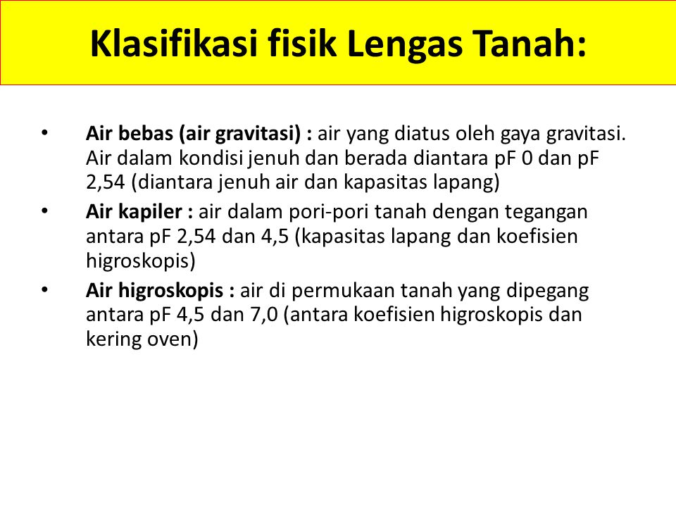 Klasifikasi fisik Lengas Tanah: Air bebas (air gravitasi) : air yang diatus oleh gaya gravitasi.