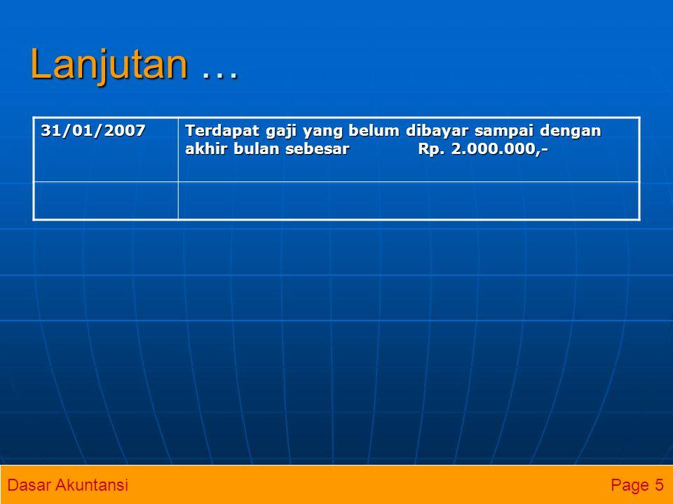 Persamaan Dasar Akuntansi KAS PIUTANG USAHA GEDUNG GEDUNG= UTANG USAHA MODAL JOJO 02/01/200705/01/200710.000(2.000)--2.000=- 10.000 (Investasi) Saldo10/01/2007 8.000 8.000 3.000 3.000-2.0002.000=-10.000 5.000 ( Pend.