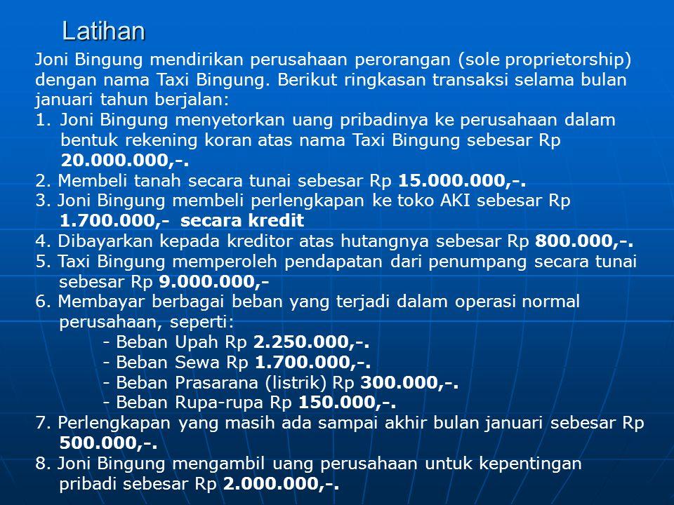 Latihan Joni Bingung mendirikan perusahaan perorangan (sole proprietorship) dengan nama Taxi Bingung. Berikut ringkasan transaksi selama bulan januari
