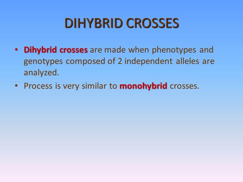 MONOHYBRID CROSS (CROSS WITH ONLY 1 TRAIT)