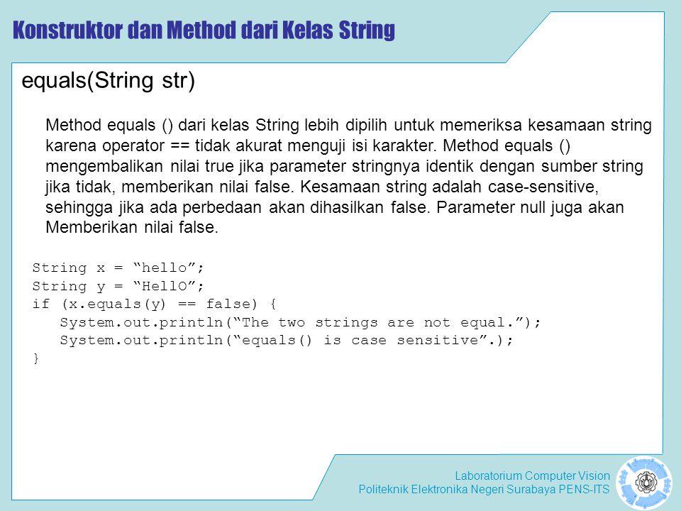 "Laboratorium Computer Vision Politeknik Elektronika Negeri Surabaya PENS-ITS Konstruktor dan Method dari Kelas String String x = ""hello""; String y = """