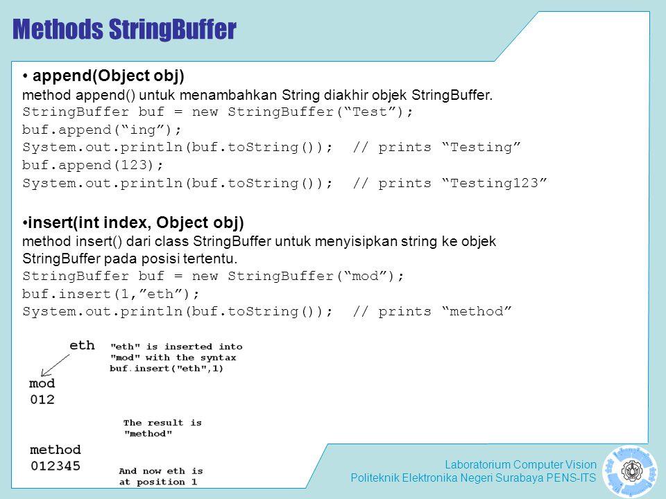 Laboratorium Computer Vision Politeknik Elektronika Negeri Surabaya PENS-ITS Methods StringBuffer append(Object obj) method append() untuk menambahkan