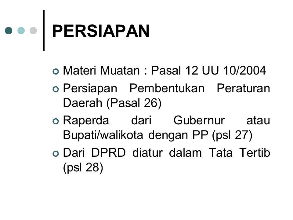 PERSIAPAN Materi Muatan : Pasal 12 UU 10/2004 Persiapan Pembentukan Peraturan Daerah (Pasal 26) Raperda dari Gubernur atau Bupati/walikota dengan PP (