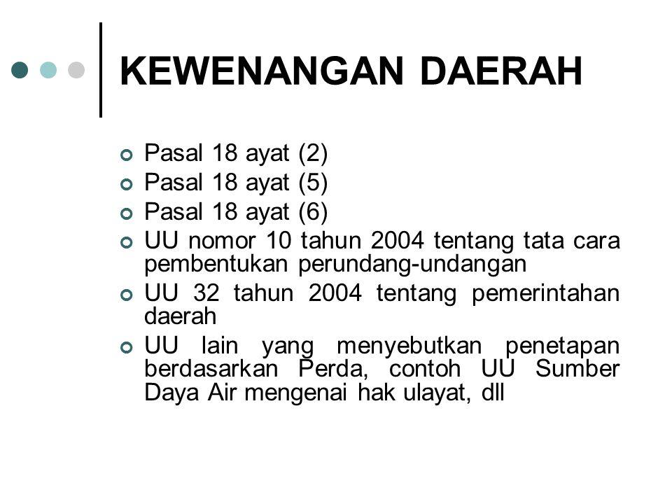 KEWENANGAN DAERAH Pasal 18 ayat (2) Pasal 18 ayat (5) Pasal 18 ayat (6) UU nomor 10 tahun 2004 tentang tata cara pembentukan perundang-undangan UU 32