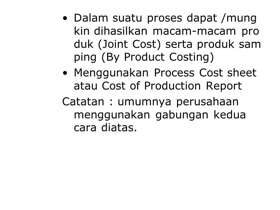 Dalam suatu proses dapat /mung kin dihasilkan macam-macam pro duk (Joint Cost) serta produk sam ping (By Product Costing) Menggunakan Process Cost sheet atau Cost of Production Report Catatan : umumnya perusahaan menggunakan gabungan kedua cara diatas.