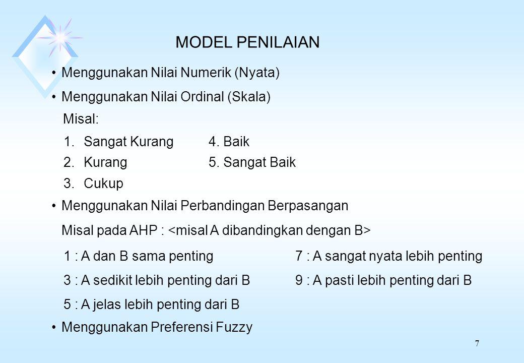 7 MODEL PENILAIAN Menggunakan Nilai Numerik (Nyata) Menggunakan Nilai Ordinal (Skala) Misal: 1.Sangat Kurang4. Baik 2.Kurang5. Sangat Baik 3.Cukup Men