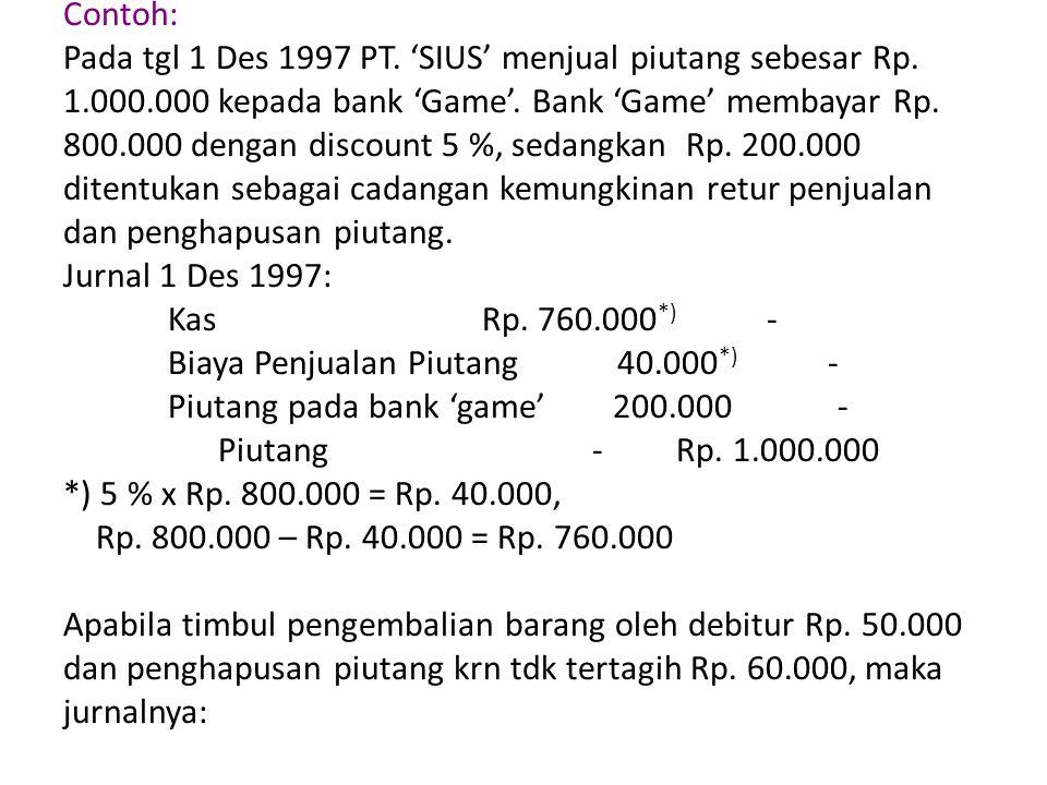 Retur penjualan Rp.50.000 - Cadangan kerugian piutang 60.000 - Piutang pada bank 'game' - Rp.