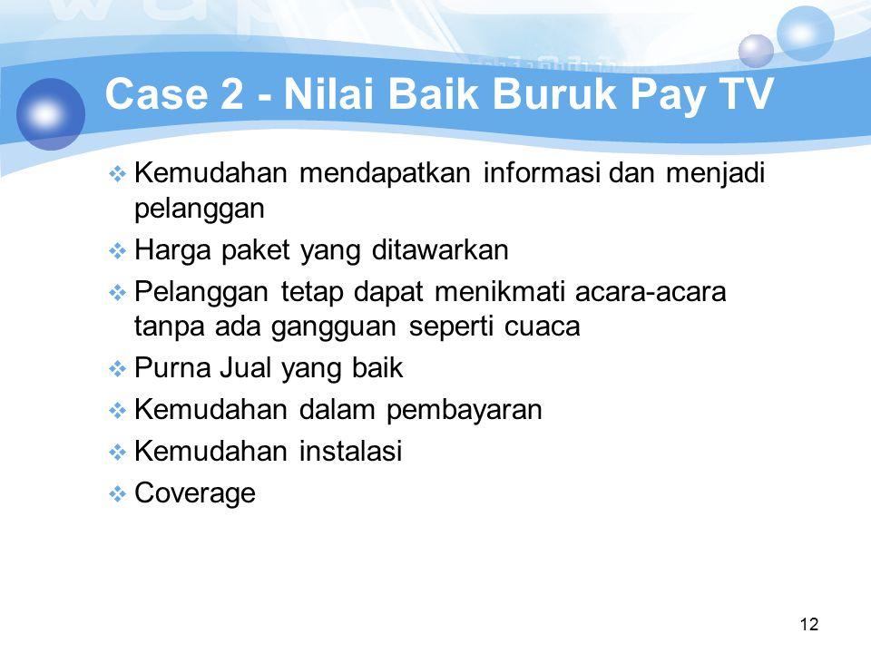 12 Case 2 - Nilai Baik Buruk Pay TV  Kemudahan mendapatkan informasi dan menjadi pelanggan  Harga paket yang ditawarkan  Pelanggan tetap dapat meni
