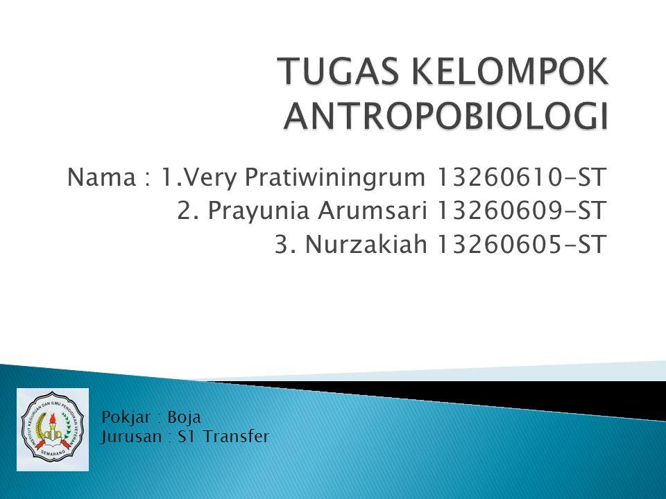 Nama : 1.Very Pratiwiningrum 13260610-ST 2.Prayunia Arumsari 13260609-ST 3.