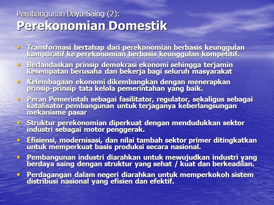 Pembangunan Daya Saing (2): Perekonomian Domestik Transformasi bertahap dari perekonomian berbasis keunggulan komparatif ke perekonomian berbasis keun