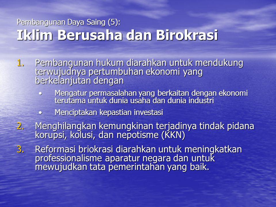 Pembangunan Daya Saing (5): Iklim Berusaha dan Birokrasi 1.Pembangunan hukum diarahkan untuk mendukung terwujudnya pertumbuhan ekonomi yang berkelanju