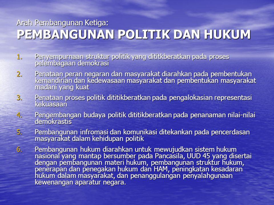 Arah Pembangunan Ketiga: PEMBANGUNAN POLITIK DAN HUKUM 1.Penyempurnaan struktur politik yang dititkberatkan pada proses pelembagaan demokrasi 2.Penata