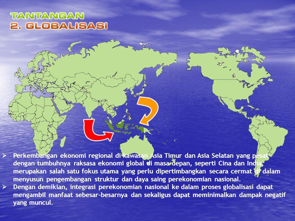 Arah Pembangunan Kedelapan: PEMBANGUNAN HUBUNGAN LUAR NEGERI 1.Menekankan pemberdayaan posisi Indonesia sebagai negara yang besar secara geografis dan jumlah penduduk 2.Memperkuat kapasitas dan kredibiltas politik luar negeri 3.Meningkatkan kualitas diplomasi di for a internasional dalam upaya pemeliharaan kemanan nasional, integritas wilayah, dan pengamanan SDA.