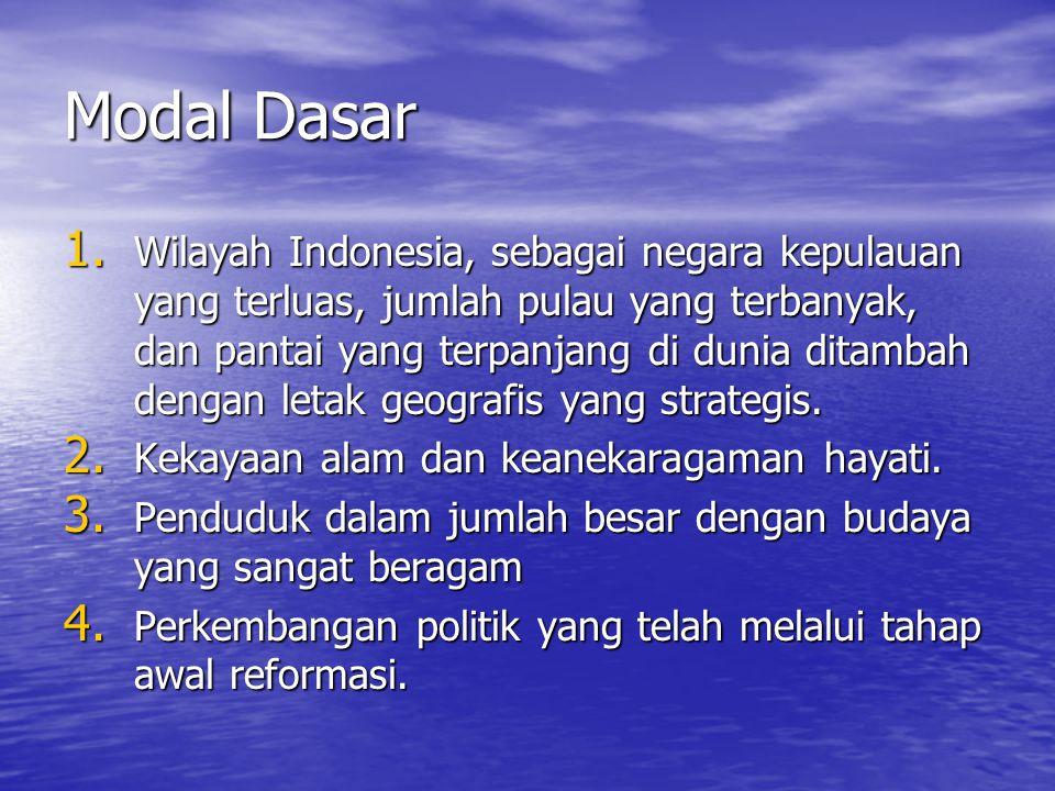 Modal Dasar 1. Wilayah Indonesia, sebagai negara kepulauan yang terluas, jumlah pulau yang terbanyak, dan pantai yang terpanjang di dunia ditambah den