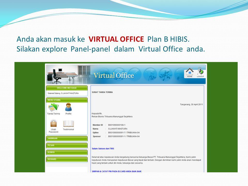 Anda akan masuk ke VIRTUAL OFFICE Plan B HIBIS. Silakan explore Panel-panel dalam Virtual Office anda.