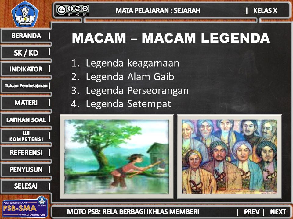 MACAM – MACAM LEGENDA 1.Legenda keagamaan 2.Legenda Alam Gaib 3.Legenda Perseorangan 4.Legenda Setempat