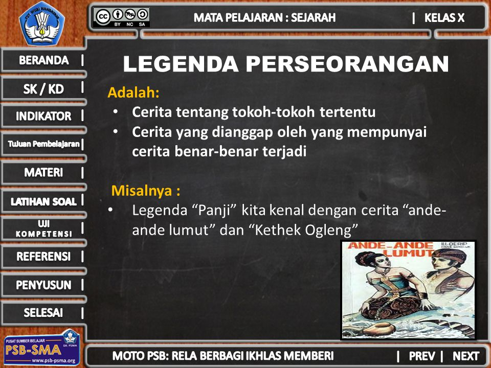 LEGENDA PERSEORANGAN Adalah: Cerita tentang tokoh-tokoh tertentu Cerita yang dianggap oleh yang mempunyai cerita benar-benar terjadi Misalnya : Legend