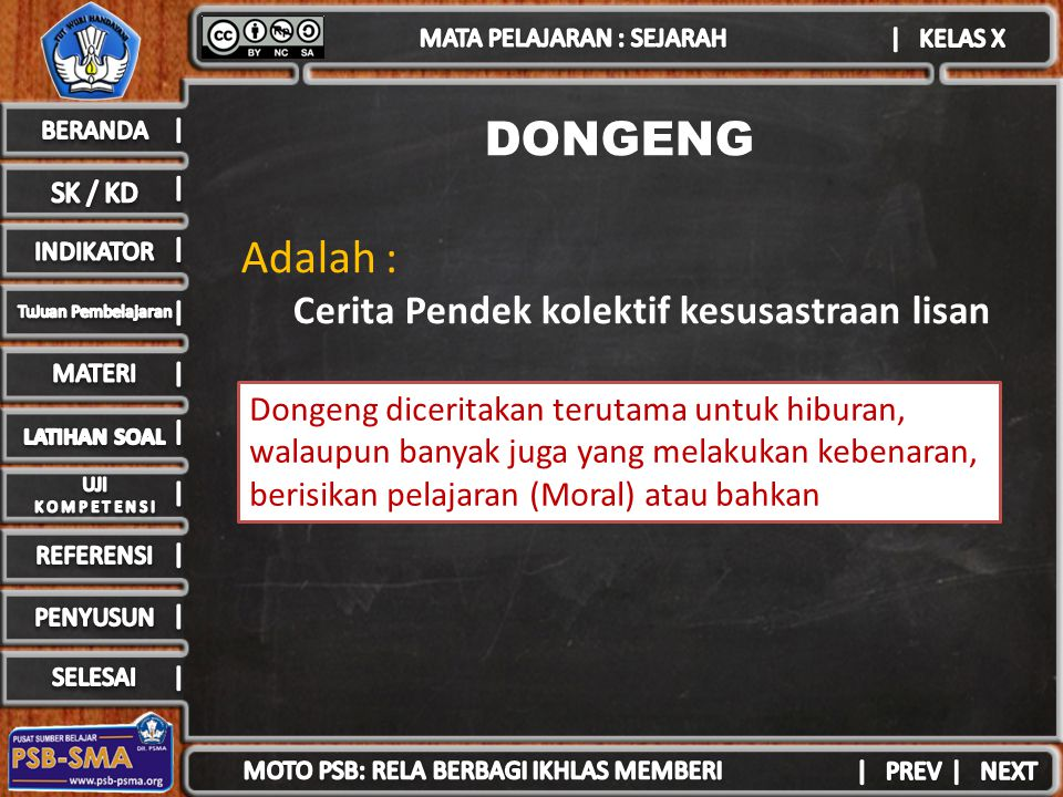 DONGENG Adalah : Cerita Pendek kolektif kesusastraan lisan Dongeng diceritakan terutama untuk hiburan, walaupun banyak juga yang melakukan kebenaran, berisikan pelajaran (Moral) atau bahkan sindiran
