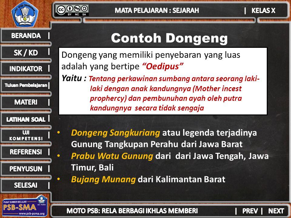 Contoh Dongeng Dongeng Sangkuriang atau legenda terjadinya Gunung Tangkupan Perahu dari Jawa Barat Prabu Watu Gunung dari dari Jawa Tengah, Jawa Timur