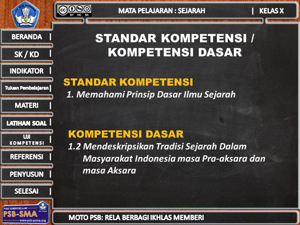 STANDAR KOMPETENSI / KOMPETENSI DASAR STANDAR KOMPETENSI 1.