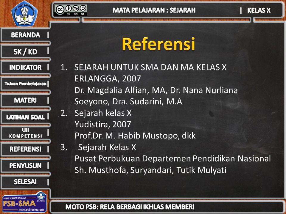 1.SEJARAH UNTUK SMA DAN MA KELAS X ERLANGGA, 2007 Dr. Magdalia Alfian, MA, Dr. Nana Nurliana Soeyono, Dra. Sudarini, M.A 2.Sejarah kelas X Yudistira,