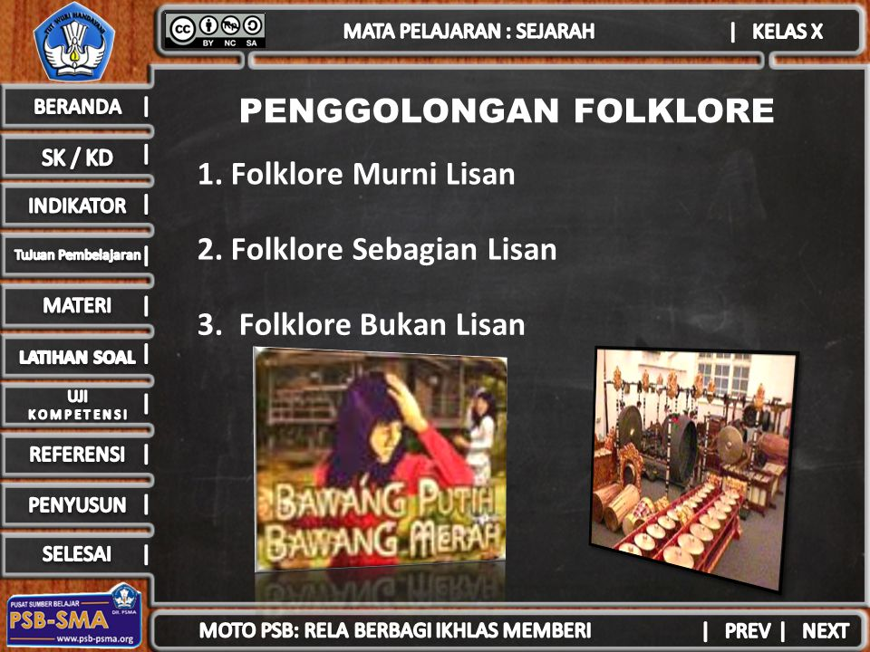 PENGGOLONGAN FOLKLORE 1. Folklore Murni Lisan 2. Folklore Sebagian Lisan 3. Folklore Bukan Lisan
