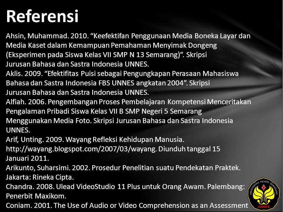 "Referensi Ahsin, Muhammad. 2010. ""Keefektifan Penggunaan Media Boneka Layar dan Media Kaset dalam Kemampuan Pemahaman Menyimak Dongeng (Eksperimen pad"
