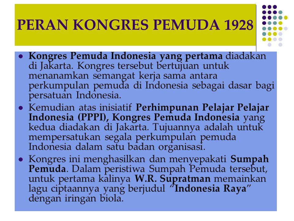 PERAN KONGRES PEMUDA 1928 Kongres Pemuda Indonesia yang pertama diadakan di Jakarta. Kongres tersebut bertujuan untuk menanamkan semangat kerja sama a