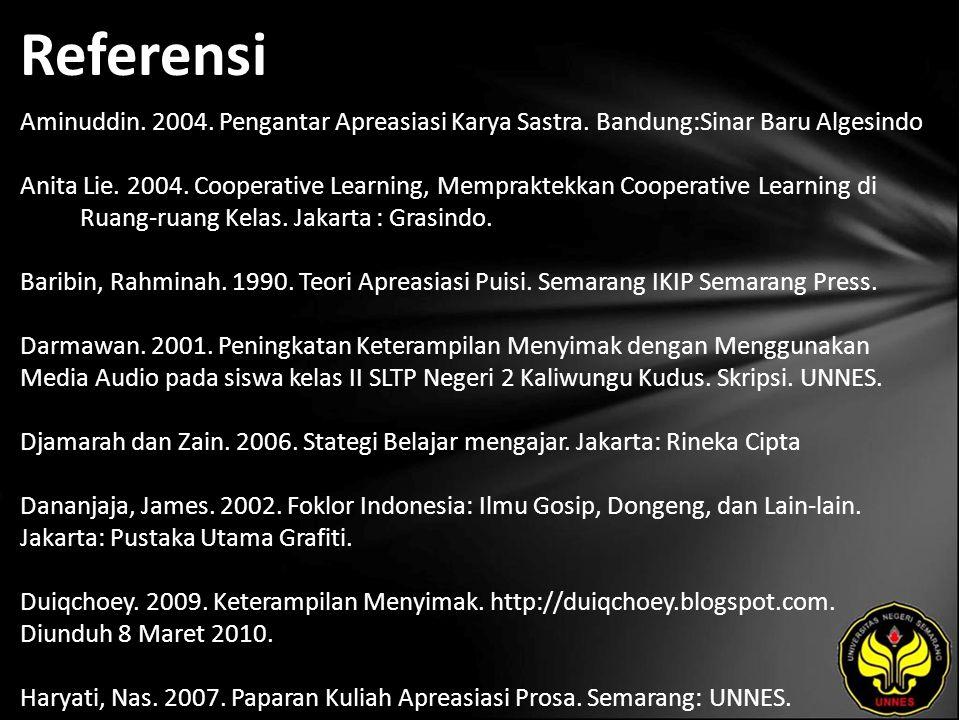 Referensi Aminuddin. 2004. Pengantar Apreasiasi Karya Sastra.
